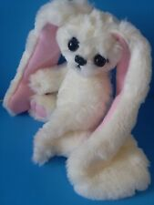 "10"" Handmade Bunny Jointed, White And Pink"