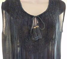 Luna Moon Indigo Top Slvls w/Tie Embroidered Bodice and Hemline Size L
