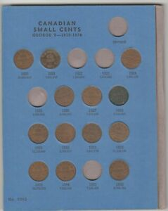 Canada Small Cent Collection 1920 to 1972 No 1922, 1923, 1925 or 1935