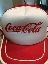 Vintage Coca-Cola Red Trucker Snapback Mesh Baseball Cap Hat Script Logo - VGC