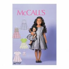 McCalls Sewing Pattern 7707 Dresses, Doll Clothes CL (6-7-8)