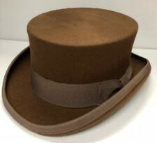 CLASSIC Wool Felt Tuxedo Top Hat Men Victorian Coachman Topper | 59cm | Brown