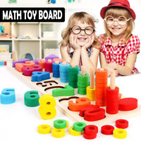 Wooden Preschool Learning Toy Rings Montessori Math Counting Board For Kid Child