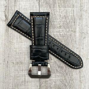 For Panerai Radiomir Luminor PAM 26mm Black Croc Style Leather Watch Strap Band