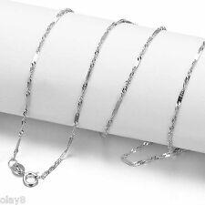 """New """"Au750"""" Solid 18K White Gold Necklace Women's Unique Singapore Link Chain"""
