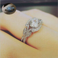 Gorgeous Round White Topaz Leaf Princess Wedding Promise Jewelry Ring 925 Silver