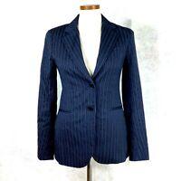 THEORY Rory Black Gray Blue Striped Wool Blend Tailored Jacket Blazer Sz 4