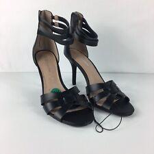 BCBG Women Randi Black Leather Ankle Strap High Heel Shoe Back Zip Sz 7.5B/37.5