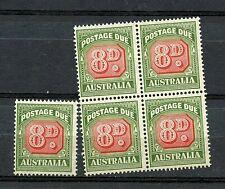 Australia #J79 (Au110) Block of 4 & Single, 8p green & carmine, Mnh, Cv$130.00