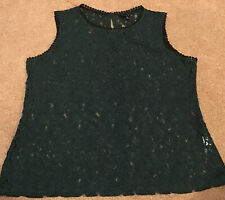 """Adiva Size L Chest 42"""" Green Lace Top"""