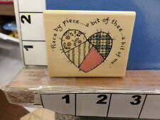 piece by piece patchwork me thee saying heart special  NEW rubber stamp 4x