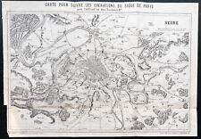 1873 - Carte pour suivre les opérations du siège de Paris - PHILIPPOTEAUX - Plan