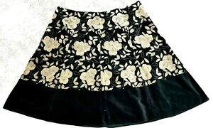 Monsoon Occasion skirt Size 22 black gold velour floral embroidery knee length