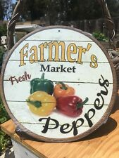Farmers Market Fresh Peppers Round Sign Tin Vintage Garage Bar Decor Old Rustic