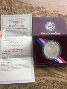 1996 Atlanta Olympiad Tennis Commemorative Uncirculated Silver Dollar