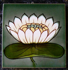 Jugendstil Fliese art nouveau tile Tegel MOPF Seerose grandios rar top selten