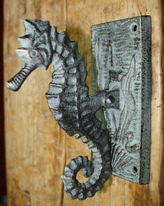 Cast Iron Antique Style Nautical SEAHORSE Door Knocker Green Finish Sea Shell