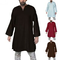 Männer Mode V Ausschnitt Bluse Langarm Lässig Shirt Hemde Kleid MIttelalter H/J