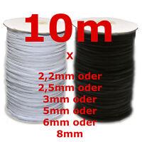 10m x 3mm/5mm/6mm Gummiband kochfest leichter Zug Gummilitze schwarz weiß Maske