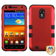 Samsung Galaxy S2 4G Sprint Boost T D710 R760 Armor Hybrid Case Skin Cover Red