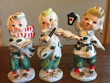 Vintage Lefton Christmas Figurines Spaghetti Trim 072 Carolers Holly 1957 Three