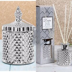 Desire Vanilla & Anise Soy Boutique Diamond Candle, & Diffuser Set Silver Tassel
