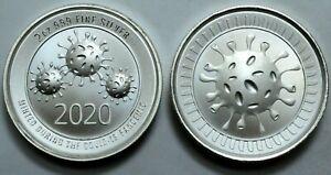 2020 2 Oz 999 Silver Round Cov-19  Envela Ultra High Relief Coin . !!!..