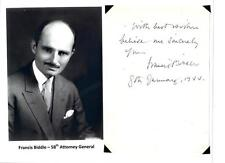 Francis Biddle Autograph Inscription US Attorney General Solicitor General ARMY