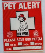 Pet Alert Fire Rescue 2-Count Static Cling Window Decal for Pets New