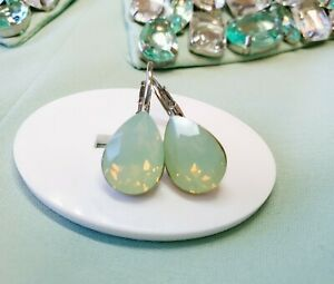 Crystal earrings leverback Earrings Genuine Swarovski Pacific Opal, mint green