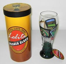"""Brand New Lolita Hand Painted 22 Oz Pilsner Glass """"After the Game"""", In packaging"""