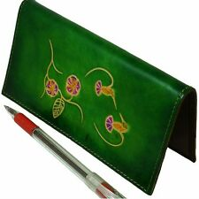 Genuine Leather Check Book Cover, Hummingbirds/Flower Patterns Embossed, Green