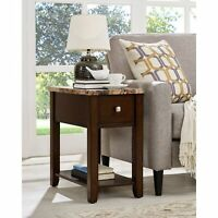 Faux Marble Top Wood End Table with Drawer Espresso Modern & Contemporary