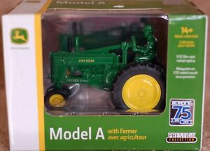 Model A John Deere tractor with farmer. 1/32 die-cast. Prestige collection.