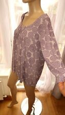 AM multi purple grey casual top blouse stretch ¾ sleeve M&S 22uk Marks &Spencer