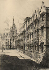 ORIEL COLLEGE AND ST. MARY'S CHURCH, OXFORD 1914 William Monk  ANTIQUE ETCHING