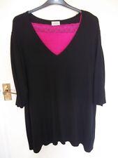Black jersey tunic top 22/24 C&A