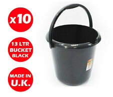 10 x 13 LITRE PLASTIC STORAGE BUCKET - WITH HANDLE - WASTE - WATER -LARGE -BLACK