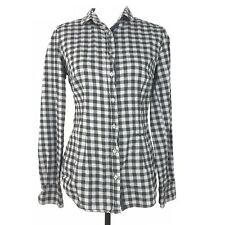 0039 Italy Top Size S Button Down Long Sleeve Gingham Stars Patch