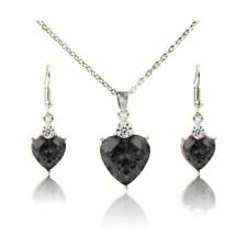 US SELLER New Heart-shaped Onyx Black crystal necklace earrings jewelry set