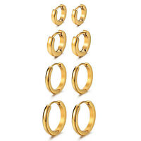 4 Pairs 7-14MM Stainless Steel Gold Hinged Hoop Huggie Ear Earrings Womens Mens