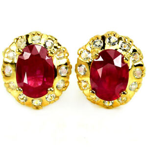 GENUINE PINK RED RUBY OVAL & WHITE TOPAZ STELRING 925 SILVER STUD EARRING