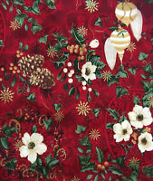 """BTY Kaufman """"The Joy of Christmas"""" Red Ornament Floral Cotton Gold Fabric Yard"""