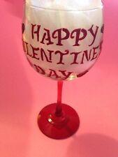 "Handmade "" Happy Valentine's Day"" Wine Glass 16 oz"