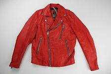 DIESEL Mens Authentic NEW Red Leather Motorcycle Biker Jacket L Large $698 NWT