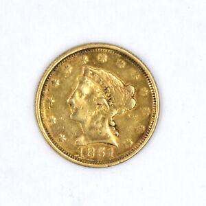 1851 $2-1/2 LIBERTY HEAD QUARTER EAGLE G-VG 90% GOLD US COLLECTIBLE COIN