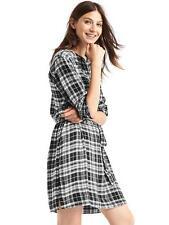 Gap Women's Metallic Black Plaid Band Collar Shirt Dress Size XS X-Small NWT