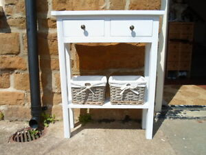 H75 x W60 x D20cm BESPOKE CONSOLE TELEPHONE BEDROOM TABLE 2 DRAWERS WHITE SATIN