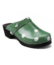 Size 9/40 CAPE CLOGS w/ Green Leather GOLF Print, Made in Sweden, COMFY Orig$90!