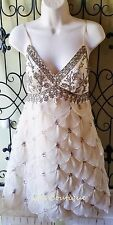 SUE WONG Gatsby flapper dress 6 NWT ivory champagne wedding cocktail party beads